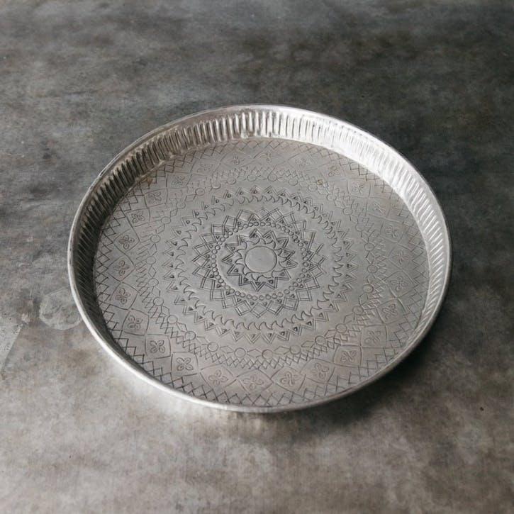 Koyo Round Silver Tray