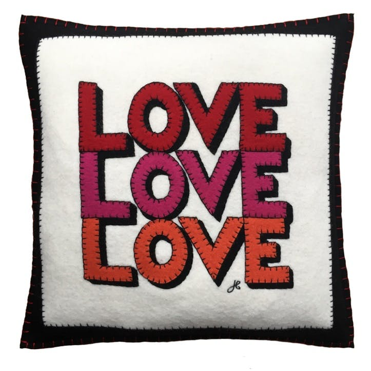 Love, Hearts & Flowers Love, Love, Love Square Cushion 46 x 46cm Multi