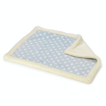Star Print Soft Plush & Fleece Blanket, Baby Blue