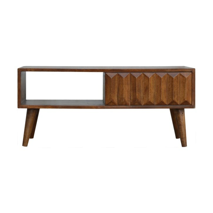 Geo Prism Coffee Table, Chestnut