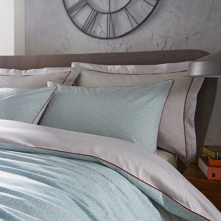 Contemporary Home Printed Bedding Set, Super King, Teal/Grey