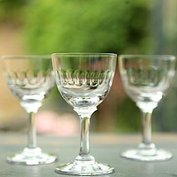 Lens Patterned Crystal Liqueur Glasses, Set Of 6