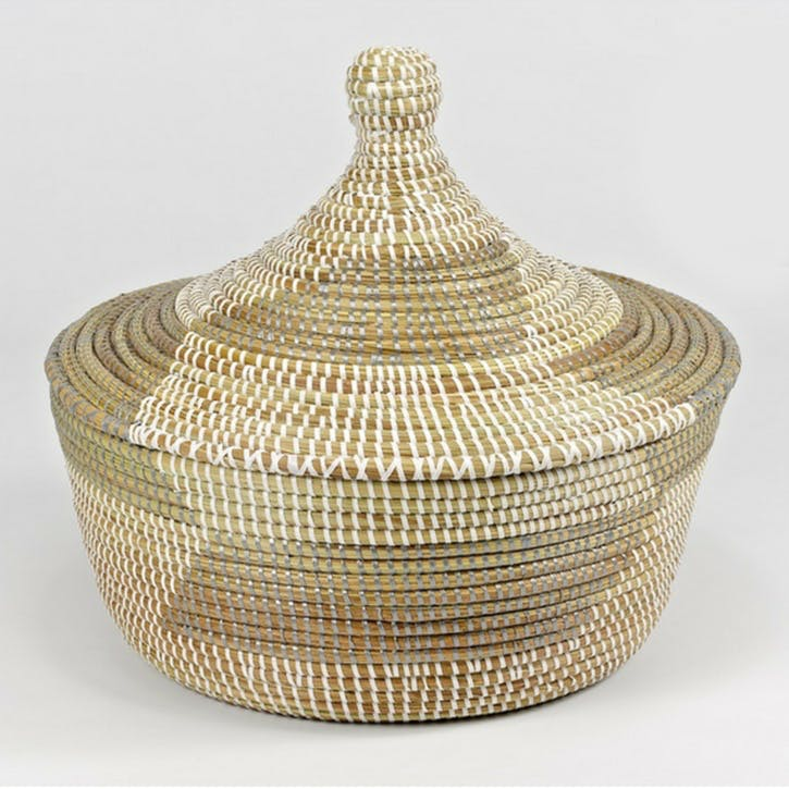 Small Ali Baba Basket; Natural/ Grey