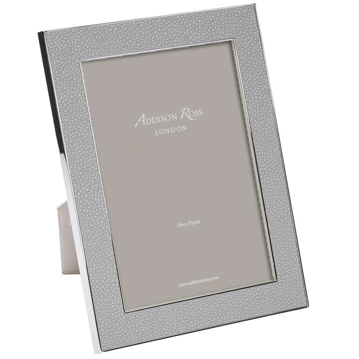 "Silver Plate Faux Shagreen Frame Grey, 8"" x 10"""