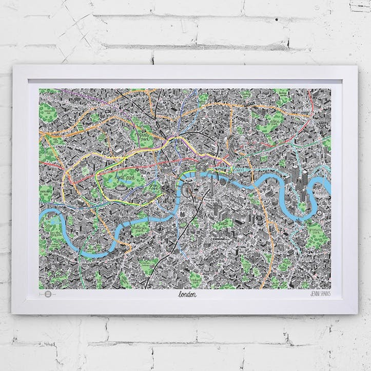 Map Hand Drawn Map of London, 83cm x 58cm, Large