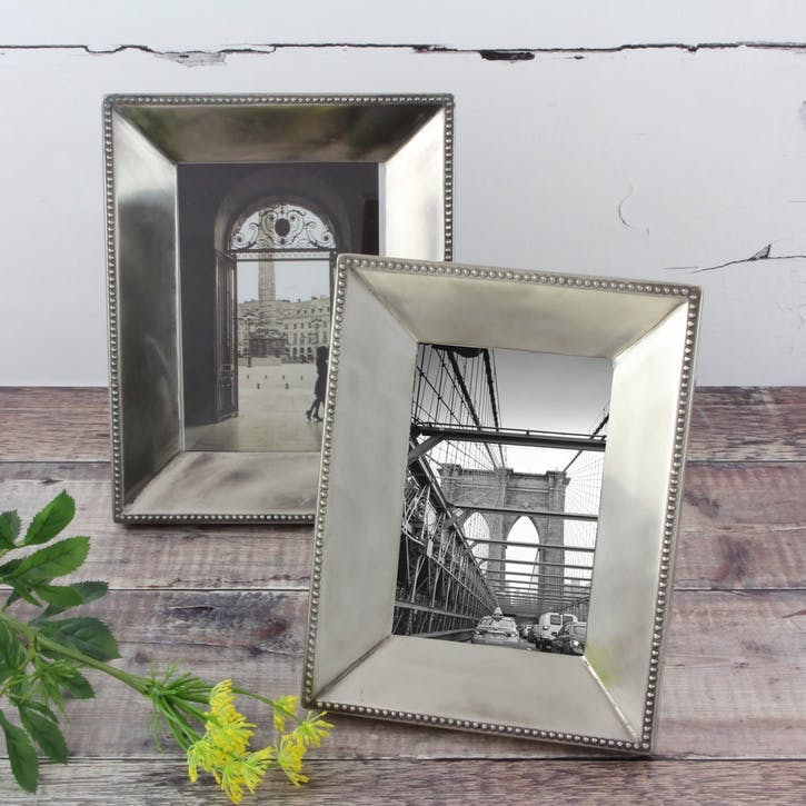 Beaded Silver Photo Frame - Small