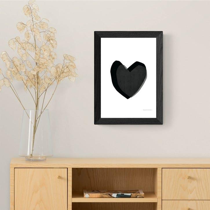 Seventy Tree, Black Heart, Framed Art Print, H48 x W37 x D2cm, Black