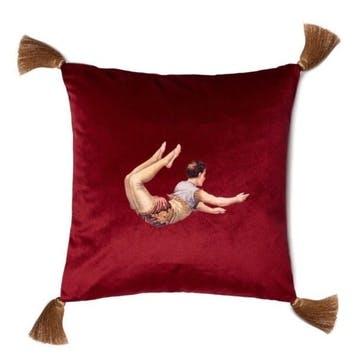 Trapeze Boy Velvet Cushion, Berry Red