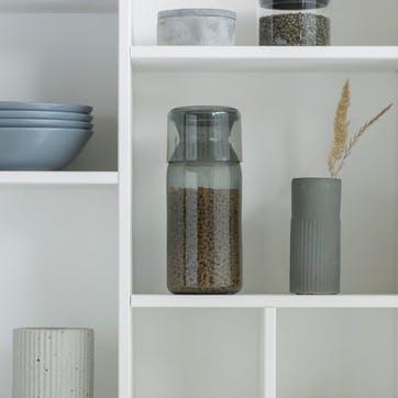 Storage Jar with Measuring Cup, Set of 2, Dark Grey