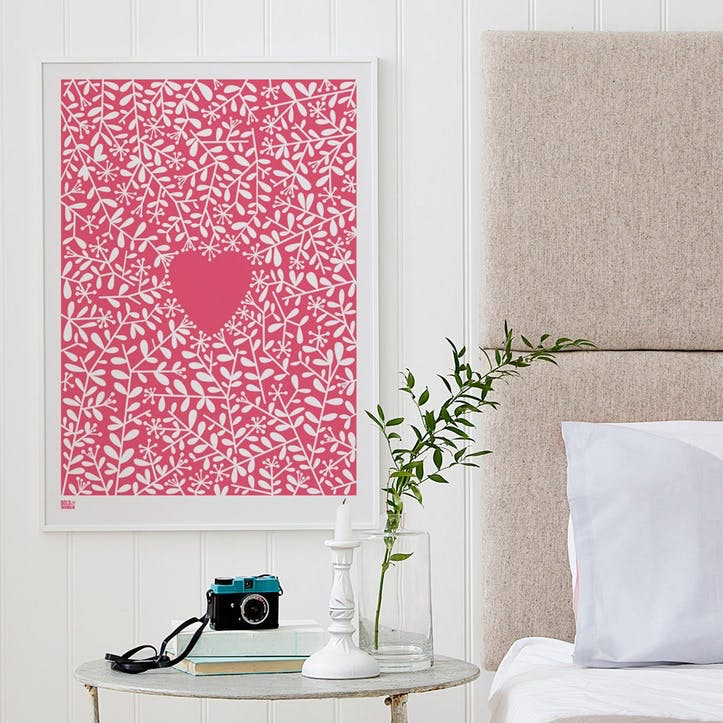 Love Grows Screen Print, 50cm x 70cm, Raspberry Sorbet