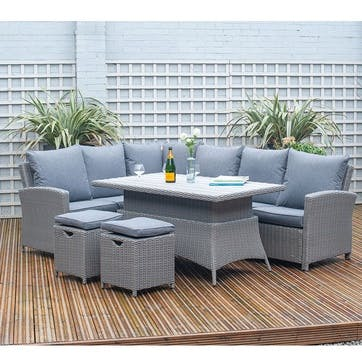 Barbados Corner Set with Relaxed Dining and Adjustable Table, Slate Grey