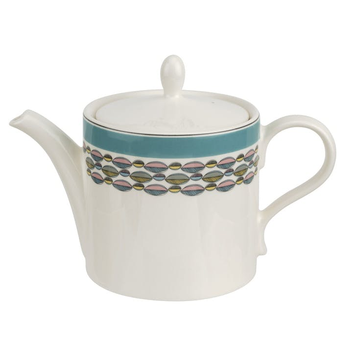 Westerly Teapot, 2pt; Turquoise Band