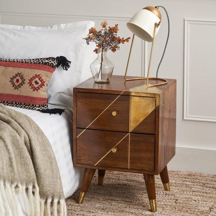 Geometric Brass & Chestnut Bedside Cabinet
