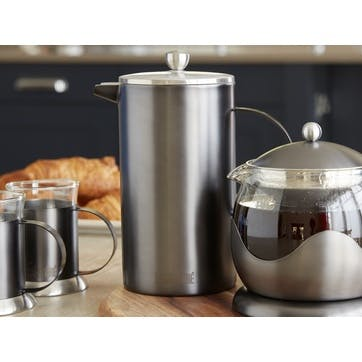 Edited Double Walled 8 Cup Cafetiere; Gun Metal Grey