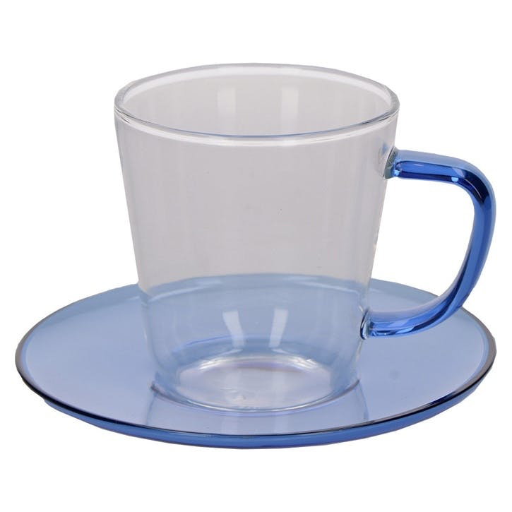Glass Teacup and Saucer, Blue