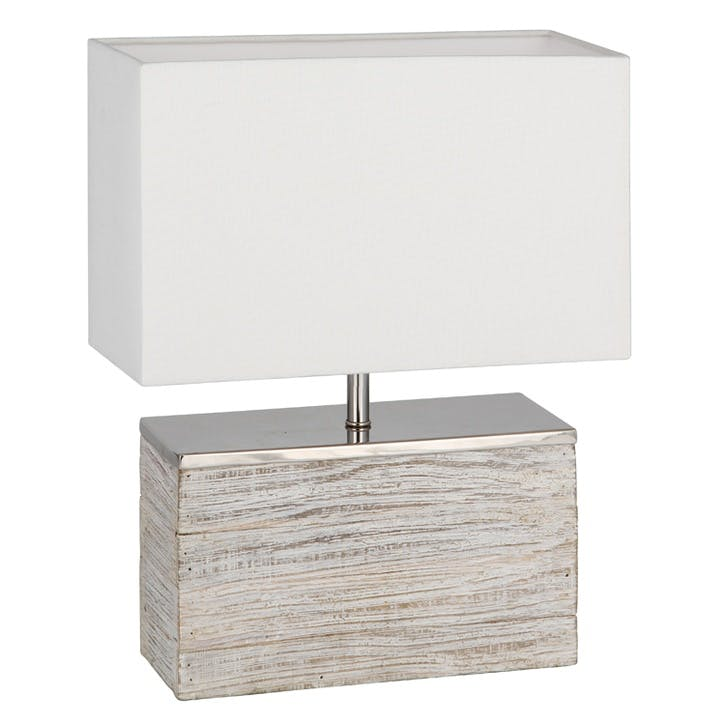 Haley Grey Wash Wood Rectangular Lamp