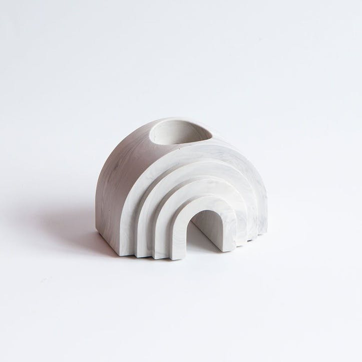 Scala Arched Candle Holder, White Marble