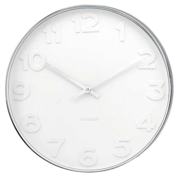 Mr. White Numbers Wall Clock, White/Steel