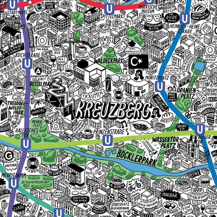 Map Hand Drawn Map of Berlin, 59cm x 42cm, Medium