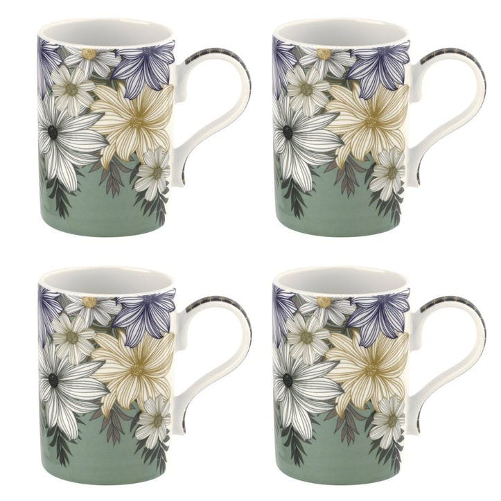Atrium Floral 12oz Mug, Set of 4