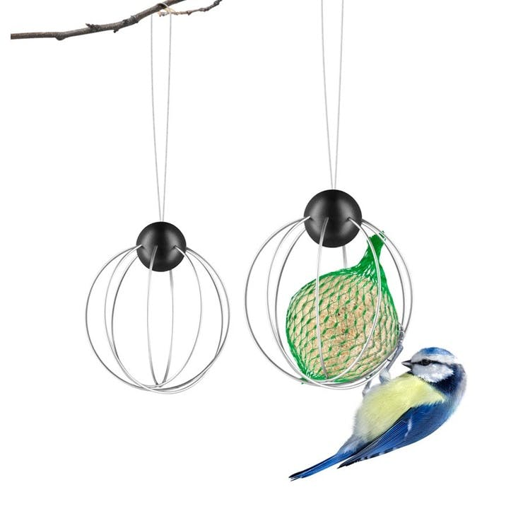 Suet Bird Feeder, Set of 2,  Silver