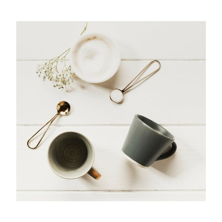 Stoneware Coffee Cup & Gold Spoon, Set of 2