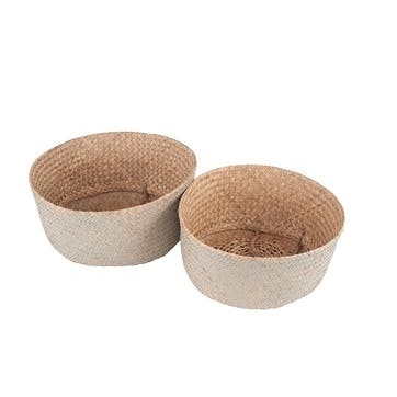 Two Tone Seagrass Handled Basket, Set of 2