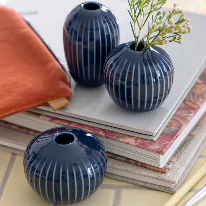 Hammershøi Miniature Vases, Set of 3, Indigo