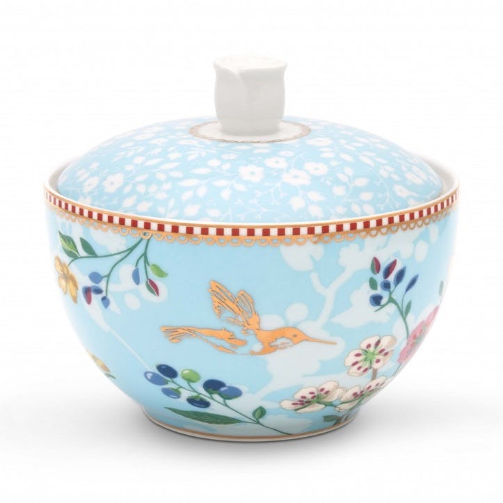 PiP Floral 2.0 Hummingbirds Sugar Bowl, Blue