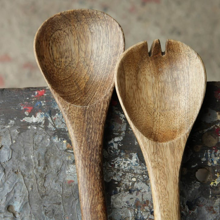 Mango Wood Salad Servers, 30cm