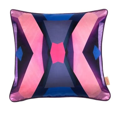 Pink/Blue Blocks Kaleidoscope, Square Silk Cushion