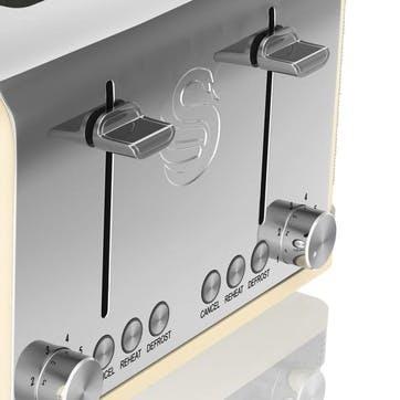 Retro 4-Slice Toaster, Cream