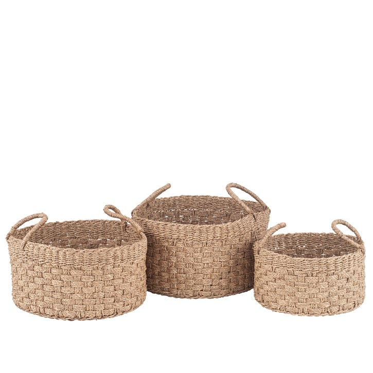 Set of 3 Woven Seagrass Baskets