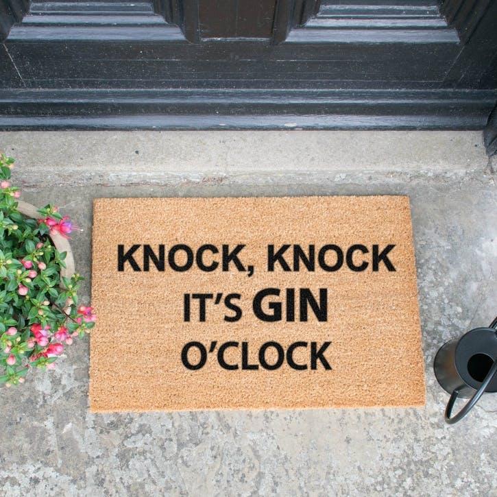 Gin O'Clock Doormat, Black