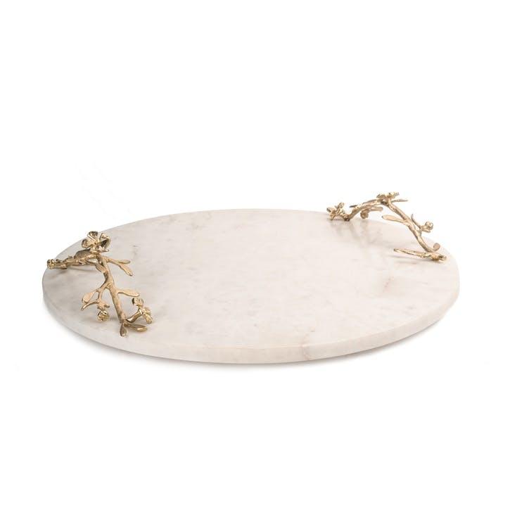 Sakura Marble and Brass Serving Board