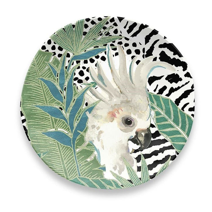 'Lush Jungle' Cockatoo Melamine Side Plate, 21cm