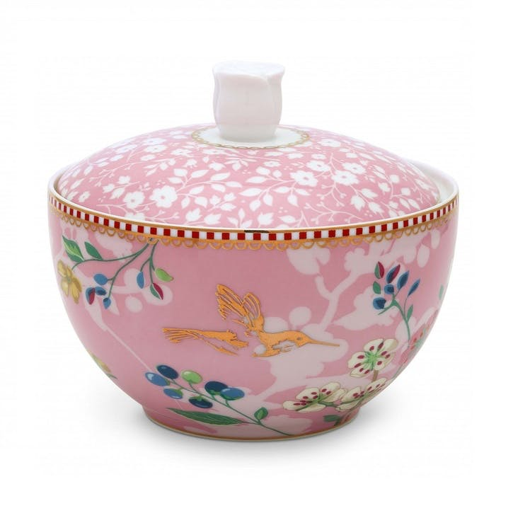 PiP Floral 2.0 Hummingbirds Sugar Bowl, Pink