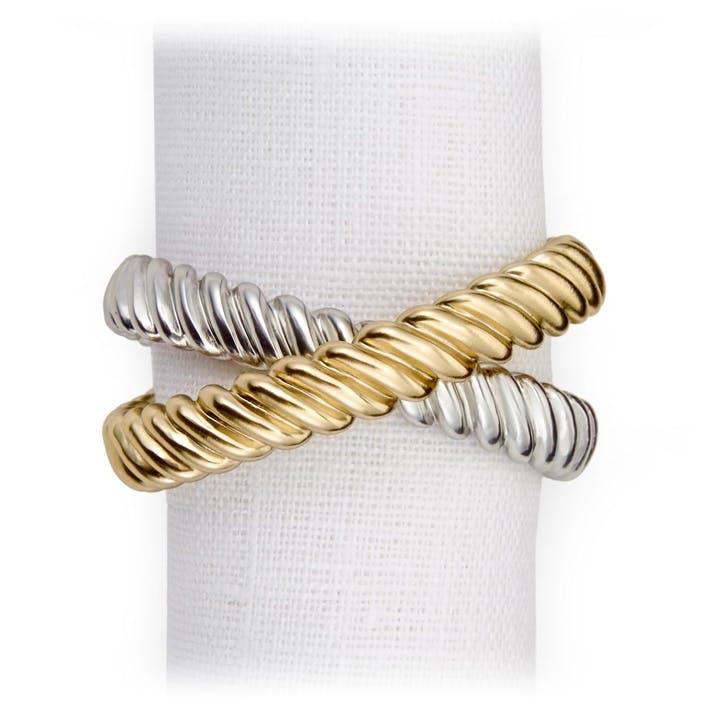 Deco Twist Set of 4 Napkin Rings, Gold & Platinum