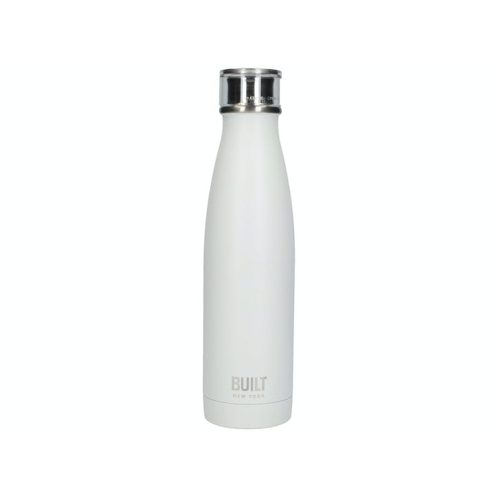 Double Walled Stainless Steel Water Bottle; White
