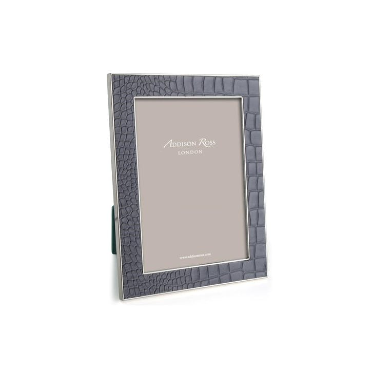 "Silver Plate Faux Croc Photo Frame - 4"" x 6""; Dove Grey"