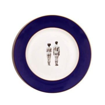 Modern Surrealist The Models Dinner Plate, Cobalt Blue