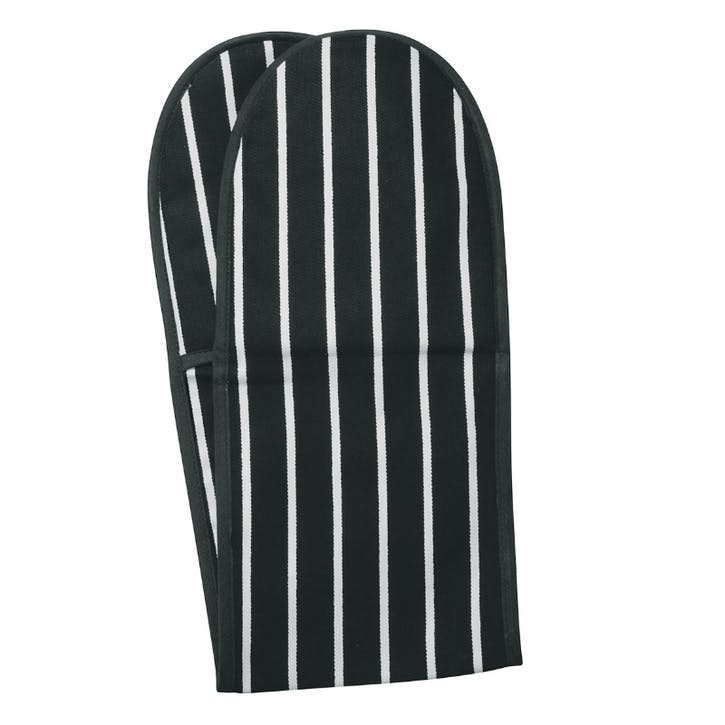 Butchers Stripe Double Oven Glove, Slate Grey