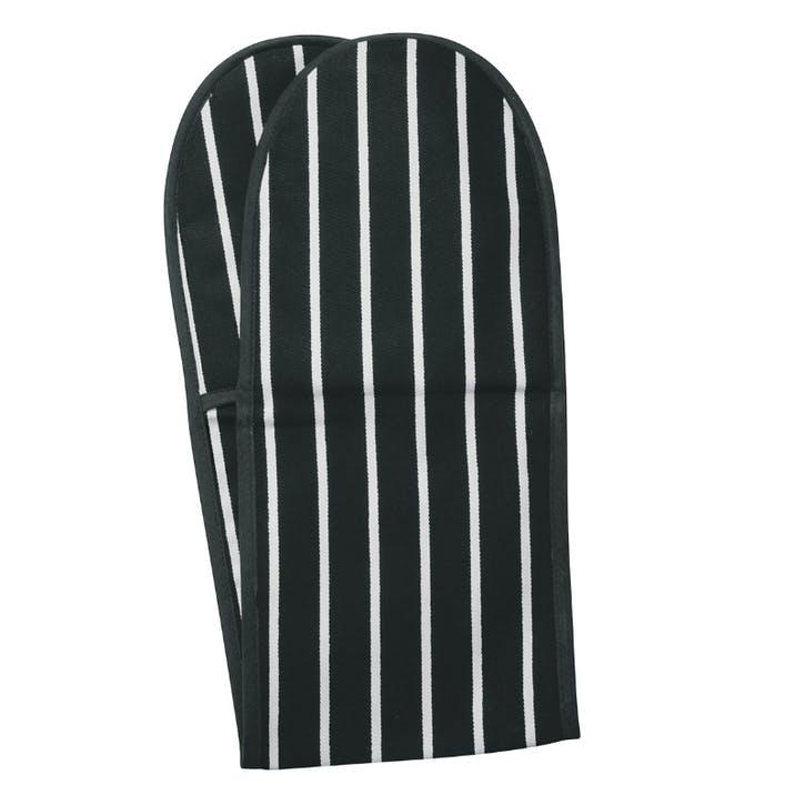 Butchers Stripe Double Oven Glove, Slate Grey