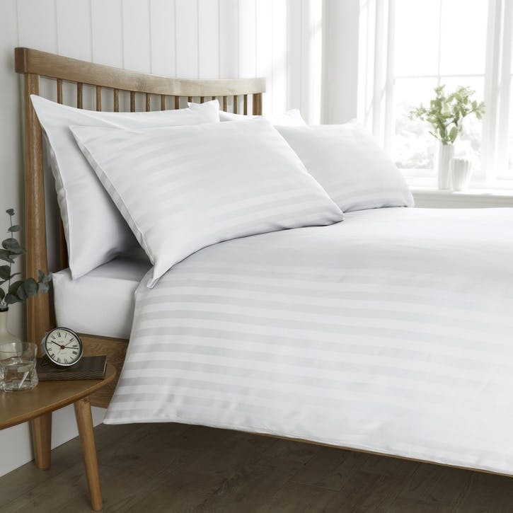 Heritage Sateen Stripe Bedding Set, Double, White