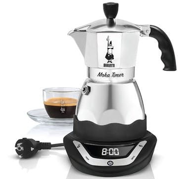 Moka Timer, Coffe Maker, 3 Cup, Silver
