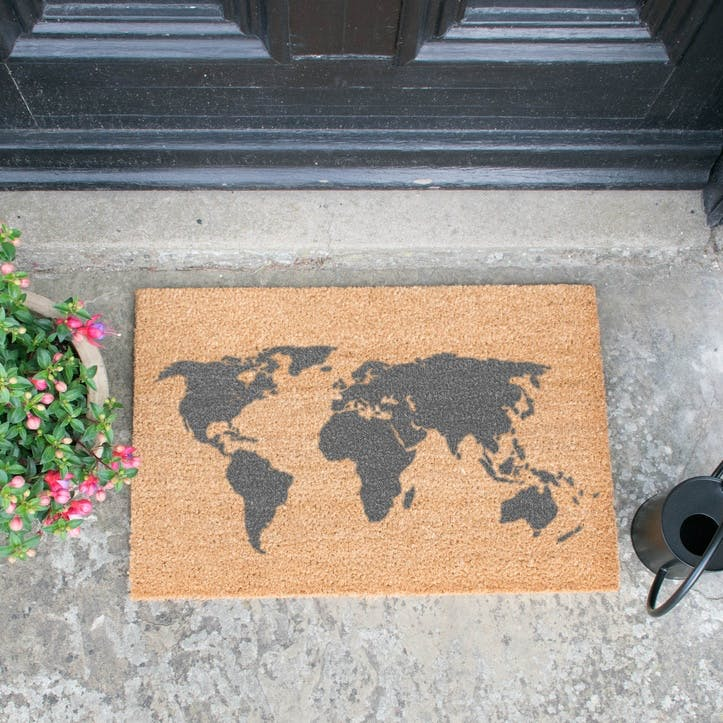 World Map Doormat, Grey