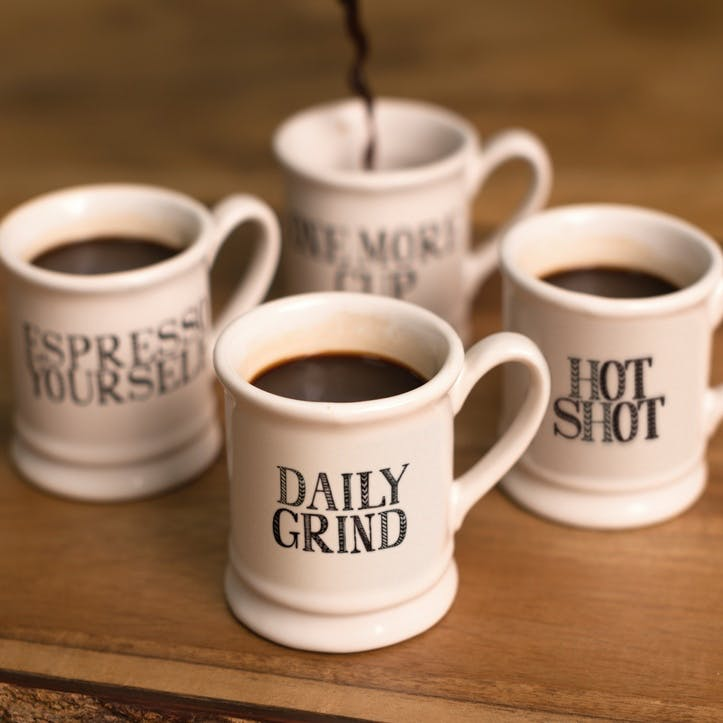 Stir It Up Espresso Tankard Mugs, Set of 4