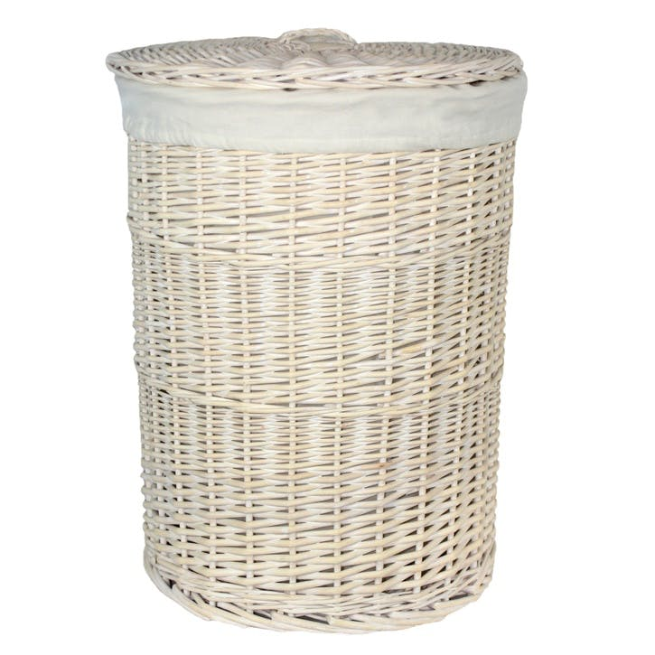 Round White Wash Laundry Hamper With White Lining, Large