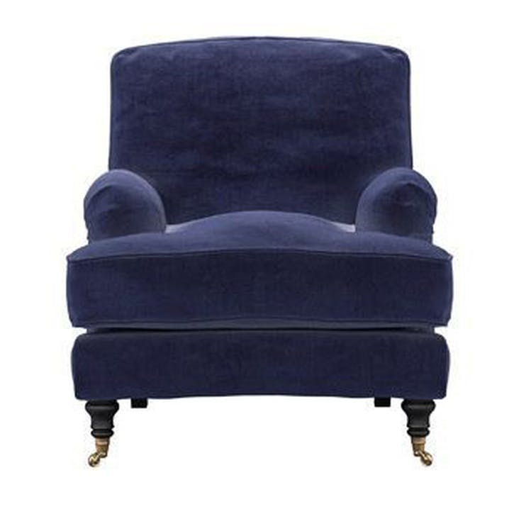 Bluebell Armchair, Blue Velvet