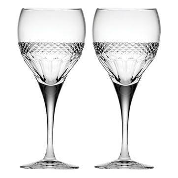 Diamonds Large Crystal Wine Glasses, Set of 2